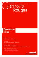 Carnets Rouges n°11, octobre 2017 : Questions vives