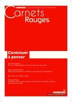 Carnets Rouges n°6, mars 2016 : Continuer à penser