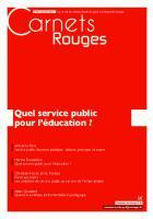 Carnets Rouges n°9, janvier 2017 : Quel service public pour l'éducation ?