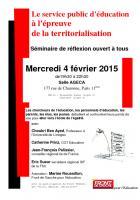 Soirée de travail et de débat mercredi 4 février : Le service public d'éducation à l'épreuve de la territorialisation