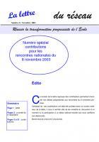 La lettre du réseau n°21 - novembre 2003