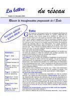 La lettre du réseau n°22 - décembre 2003