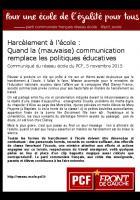 Harcèlement à l'école : quand la (mauvaise) communication remplace les politiques éducatives.
