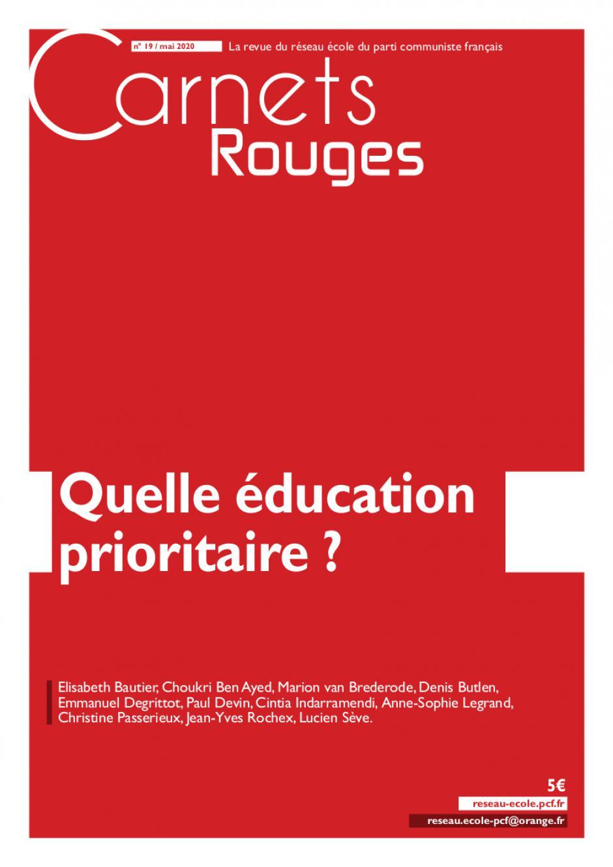 Carnets rouges n°19 | Mai 2020 | Quelle éducation prioritaire ?