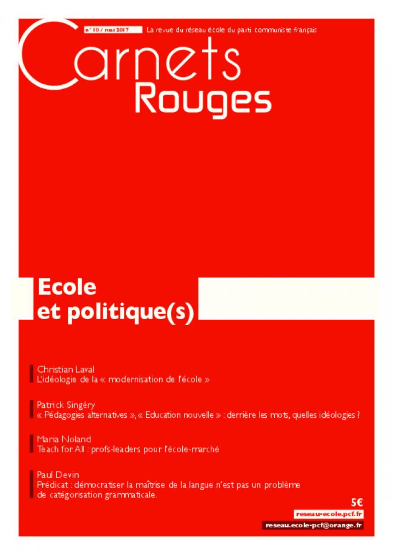 Carnets Rouges n°10, avril 2017 : école et politique(s)