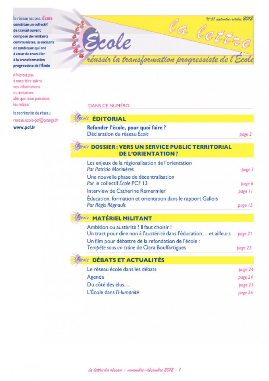 Reseau école : Novembre décembre 2012